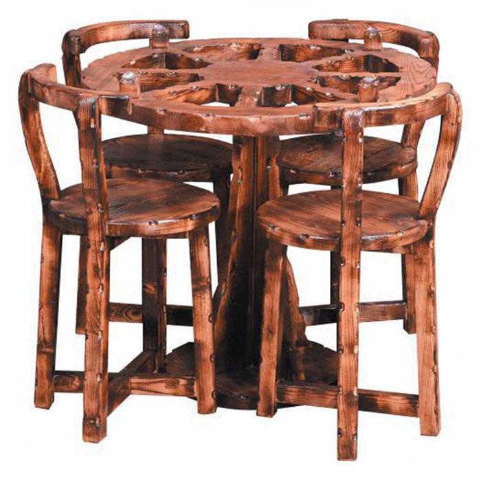 میز و صندلی پنج تکه گرد چوبی کد IGA-S111 |