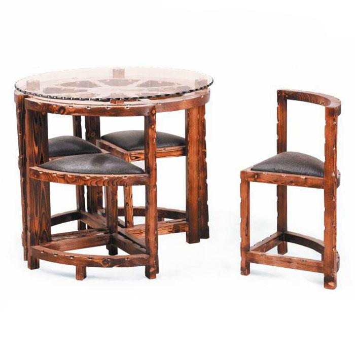 میز و صندلی پنج تکه گرد چوبی کد IGA-S112 |