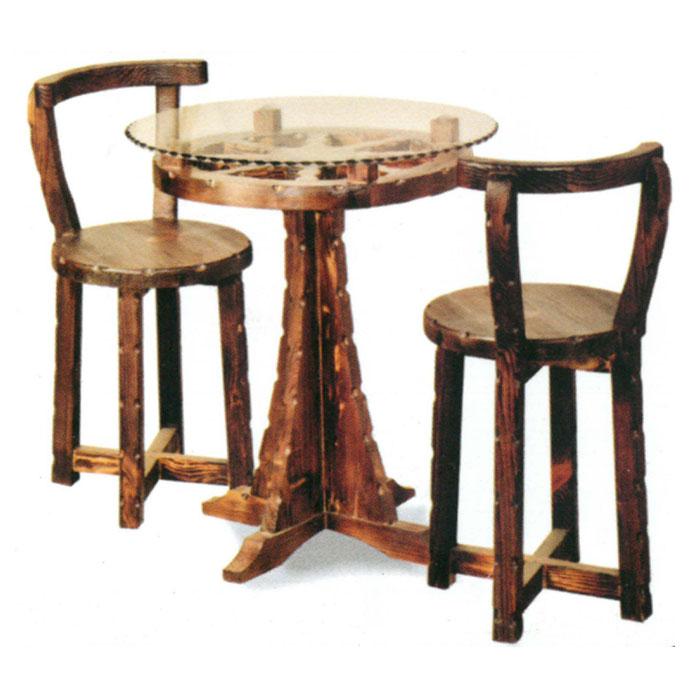 میز صندلی سه تکه گرد چوبی کد IGA-S115 |